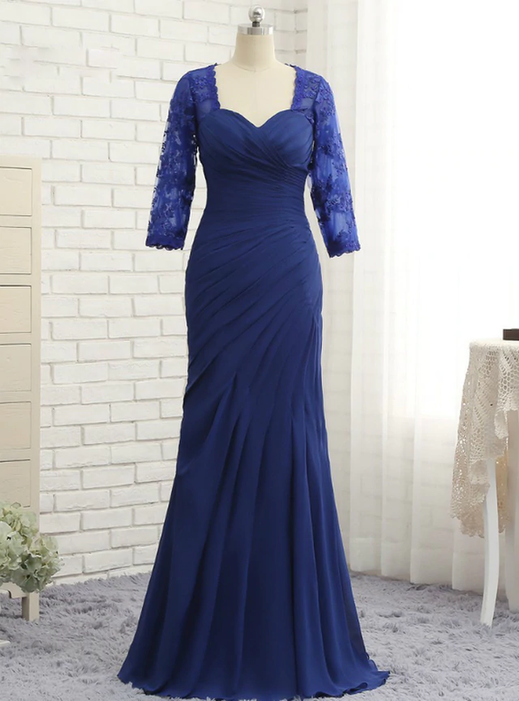 Blue Mermaid Chiffon Pleats Mother Of The Bride Dress