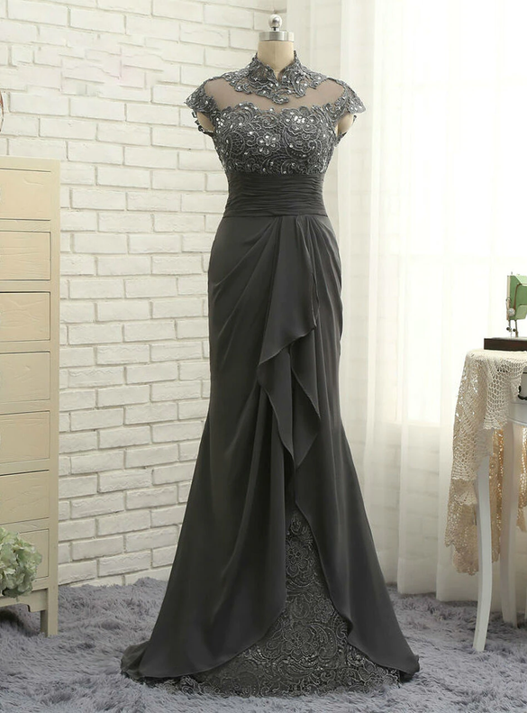 Gray Mermaid Chiffon Cap Sleeve Mother Of The Bride Dress