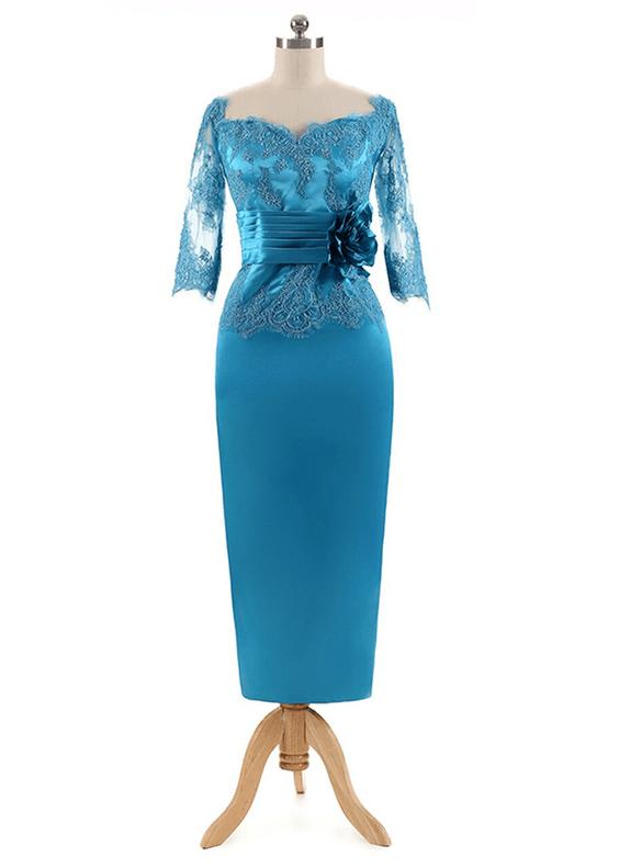Royal Blue Satin Short Sleeve Mother of the Bride Dress