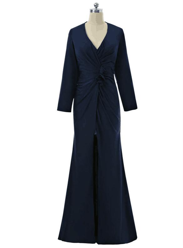 Navy Blue V-neck Long Sleeve Pleats Mother Dress