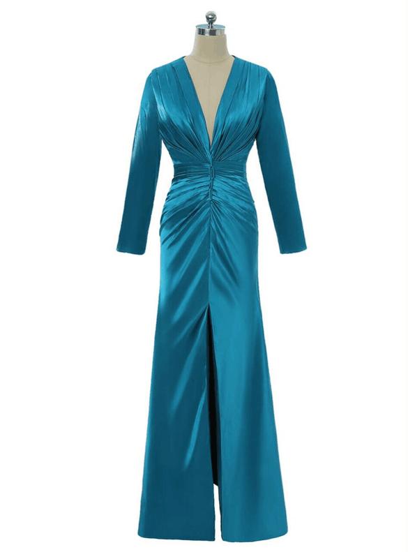 Royal Blue Mermaid Satin Pleats V-neck Mother Dress