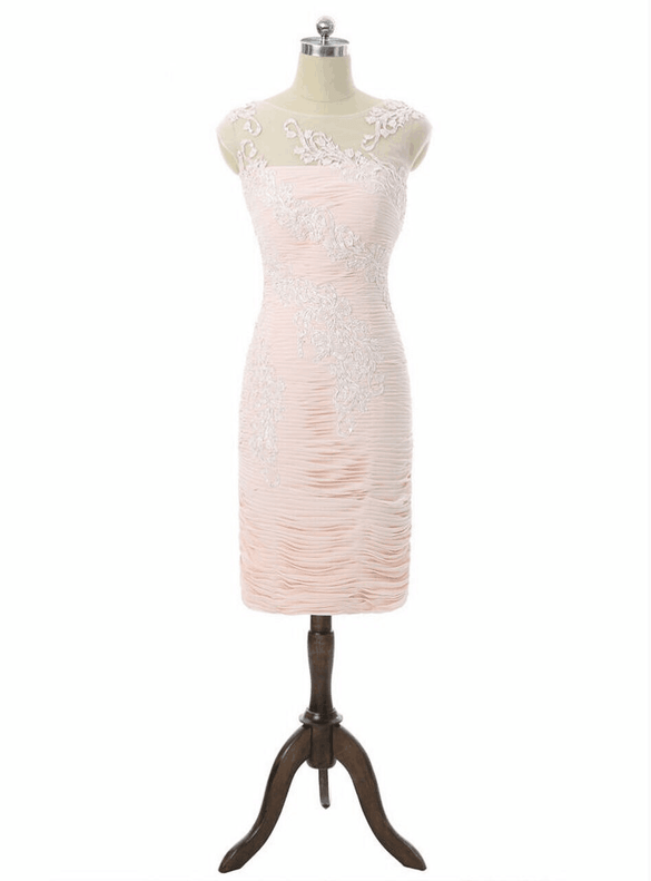 Light Pink Sheath Chiffon Pleats Mother Of The Bride Dress