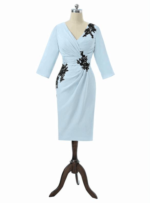 Sky Blue Chiffon Short Sleeve Pleats Mother Dress