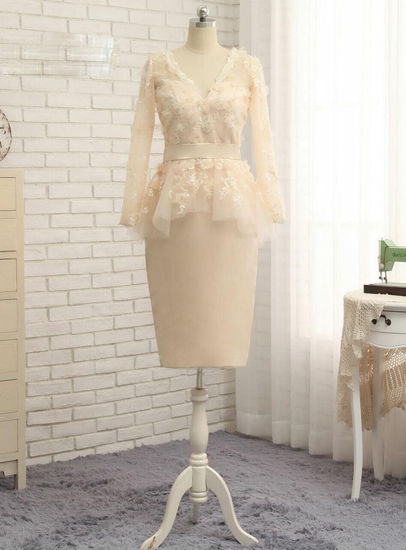 Yellow Sheath Long Sleeve Appliques Mother Of The Bride Dress