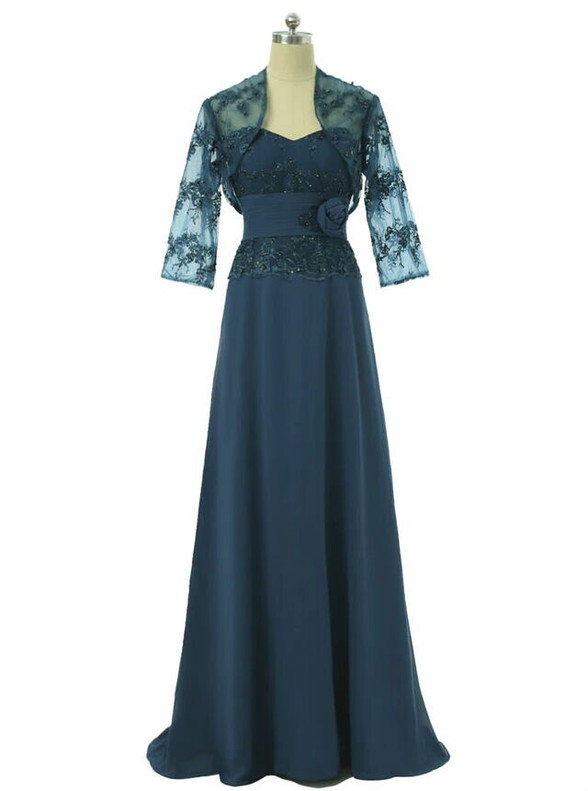 Dark Blue Chiffon Strapless Beading Mother Of The Bride Dress