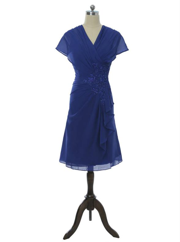 Royal Blue Chiffon V-neck Pleats Beading Mother Dress