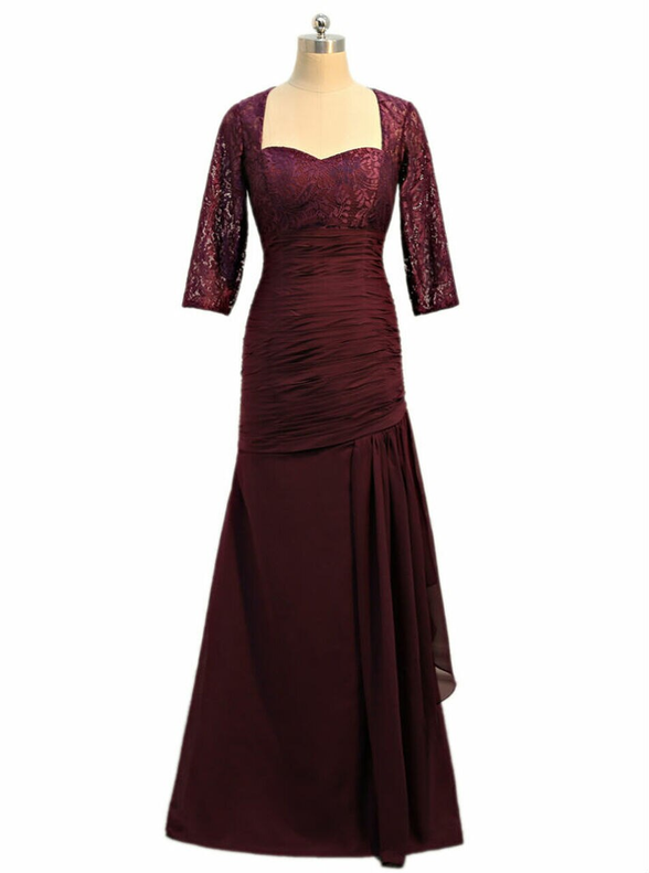 Burgundy Chiffon Pleats Lace Mother Of The Bride Dress