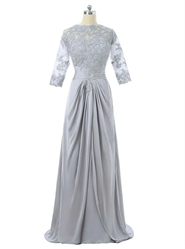 Silver Gray Chiffon Short Sleeve Mother Of The Bride Dress