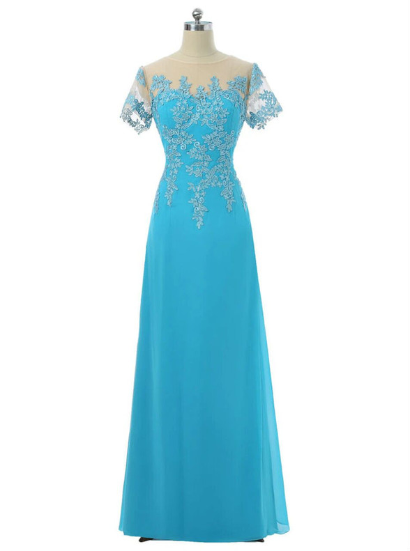 Blue Chiffon Appliques Short Sleeve Mother Of The Bride Dress