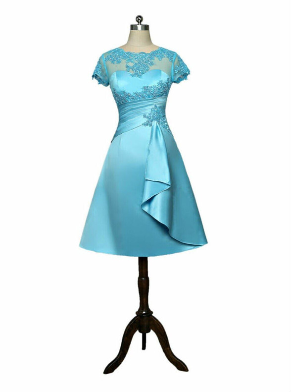 Blue Satin Appliques Mother Of The Bride Dress