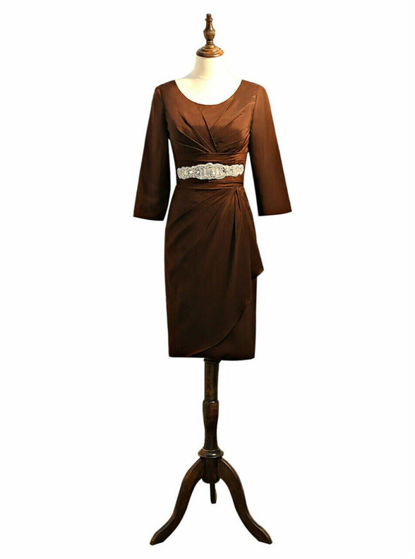 Brown Satin Short Sleeve Pleats Mother Of The Bride Dress