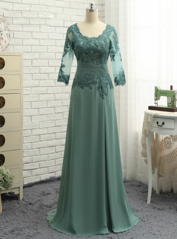 Green Chiffon Short Sleeve Appliques Mother Of The Bride Dress