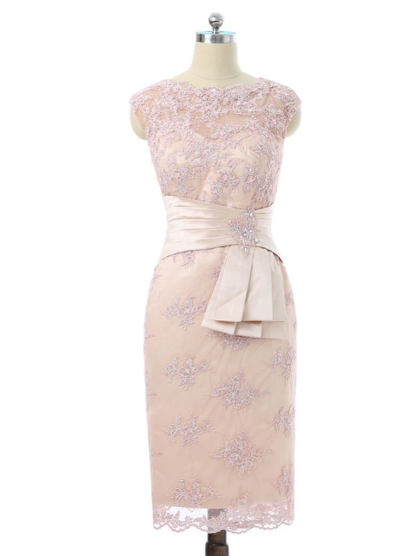 Champagne Sheath Pink Appliques Mother Of The Bride Dress