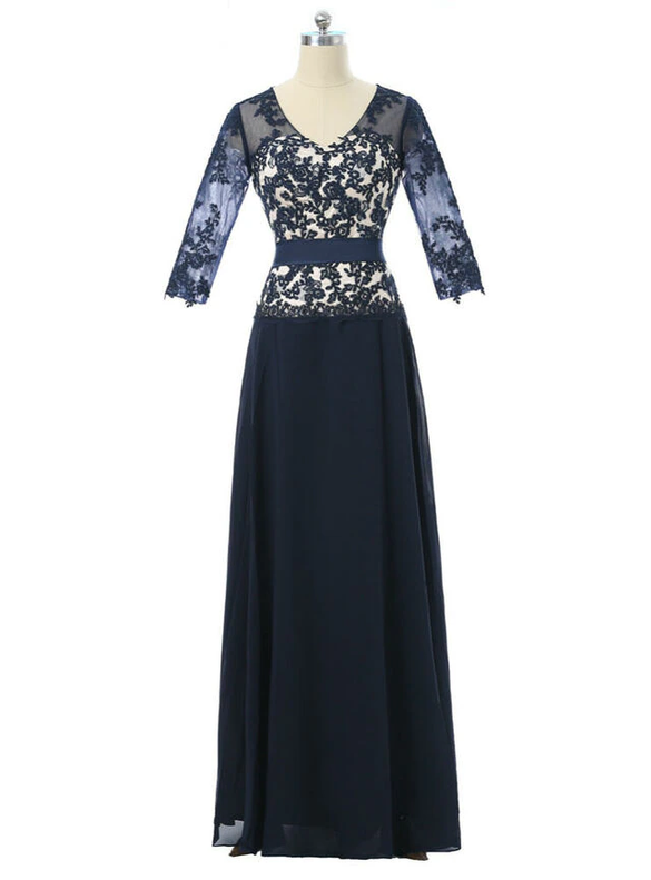 Navy Blue Chiffon V-neck Appliques Mother Of The Bride Dress