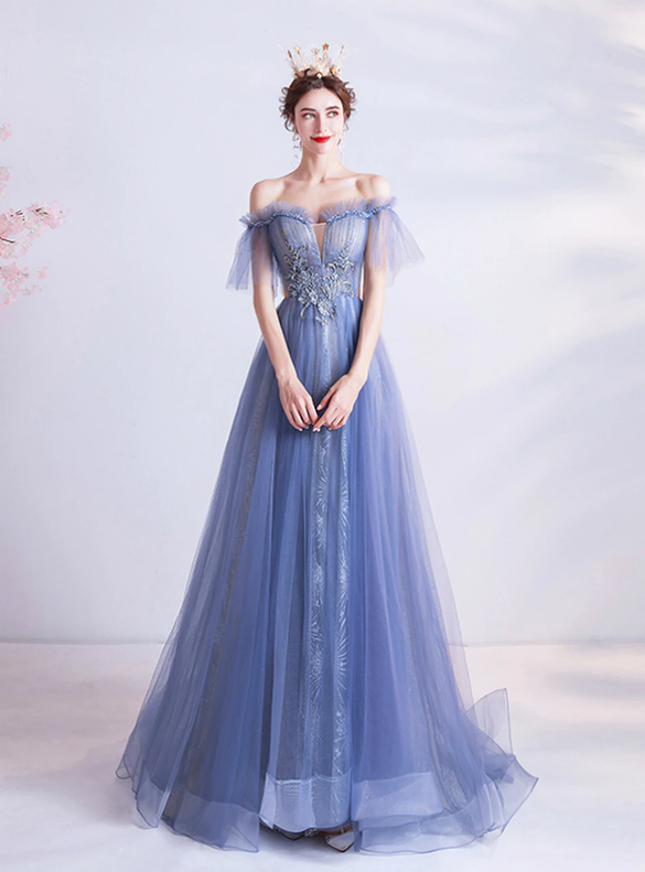 In Stock:Ship in 48 Hours A-Line Blue Tulle Prom Dress