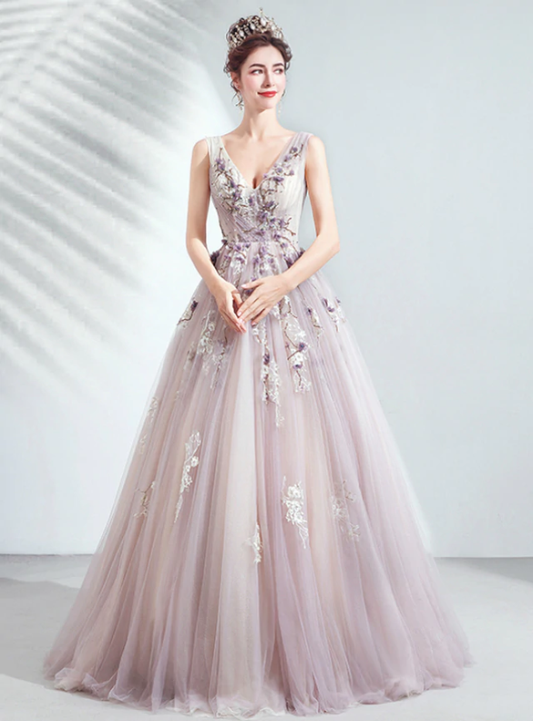 In Stock:Ship in 48 Hours Purple Tulle Appliques Prom Dress