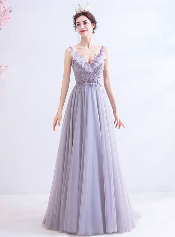 In Stock:Ship in 48 Hours Purple Tulle Long Prom Dress