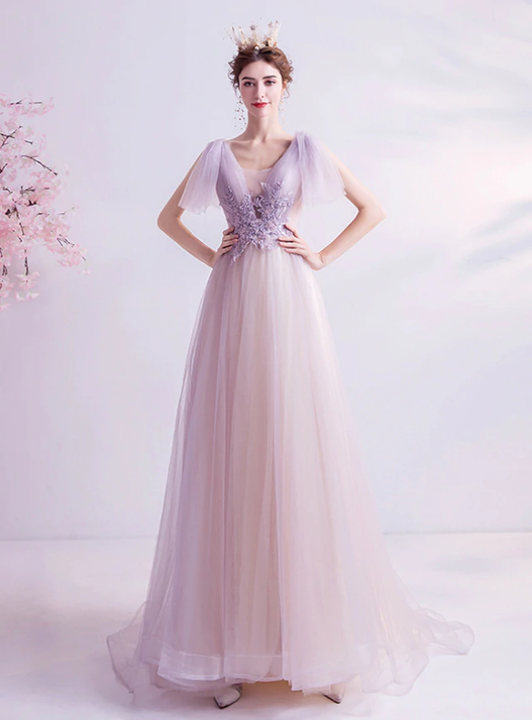 In Stock:Ship in 48 Hours Purple Tulle Pleats Prom Dress