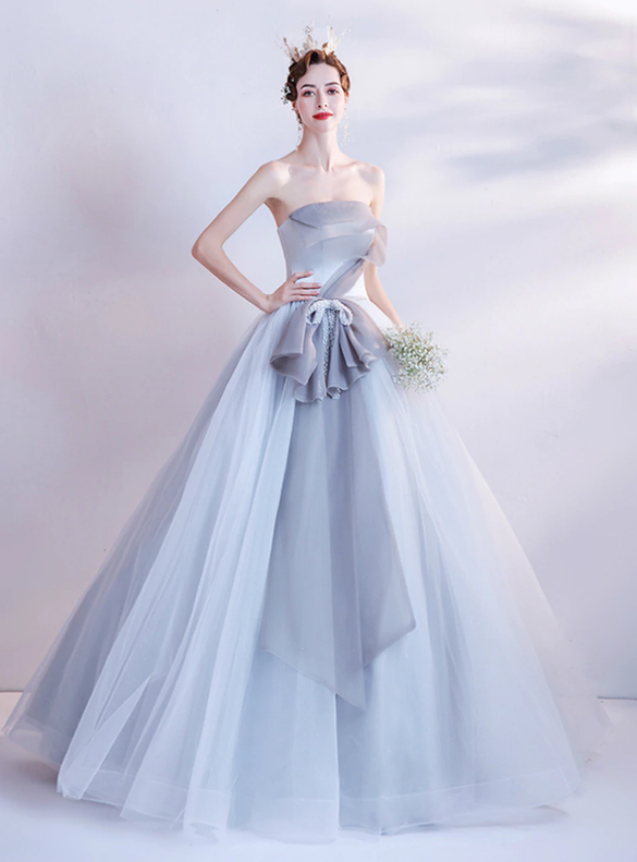 In Stock:Ship in 48 Hours Gray Tulle Beading Prom Dress