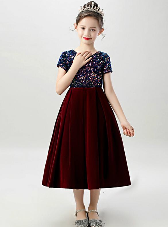 In Stock:Ship in 48 Hours Burgundy Velvet Sequins Flower Girl Dress
