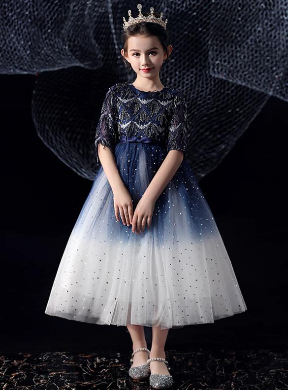 In Stock:Ship in 48 Hours Navy Blue Short Sleeve Flower Girl Dress