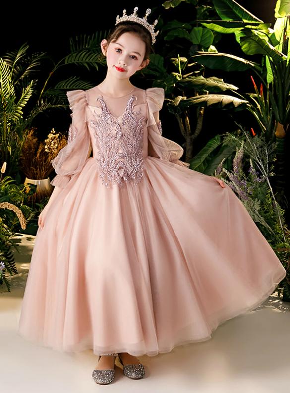 In Stock:Ship in 48 Hours Pink Long Sleeve Beading Flower Girl Dress