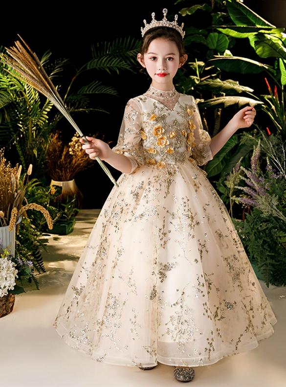 In Stock:Ship in 48 Hours Champagne Short Sleeve Flower Girl Dress