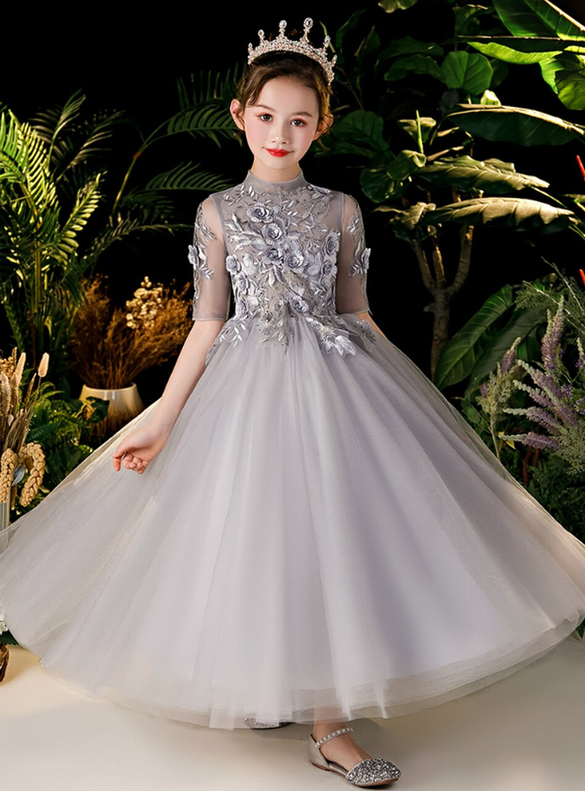 In Stock:Ship in 48 Hours Gray Tulle Appliques Flower Girl Dress