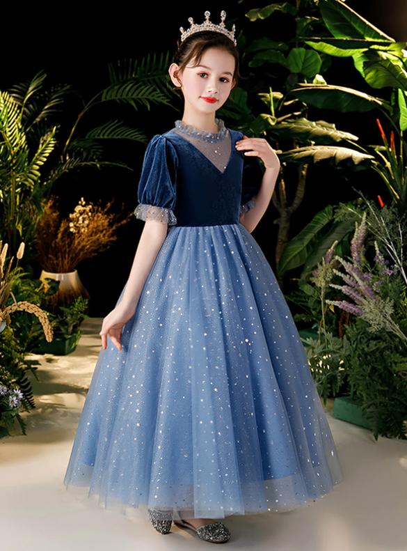 In Stock:Ship in 48 Hours Blue Tulle Short Sleeve Flower Girl Dress