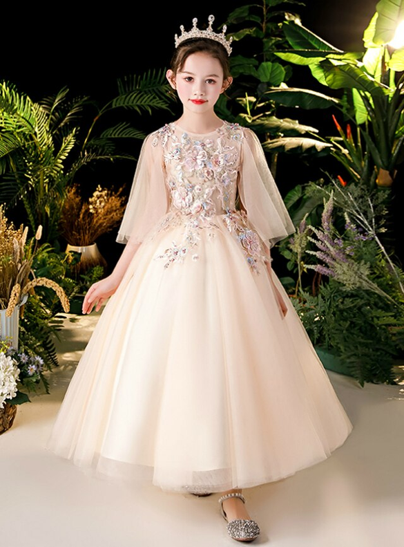 In Stock:Ship in 48 Hours Champagne Tulle Appliques Flower Girl Dress