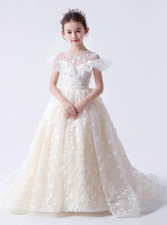 In Stock:Ship in 48 Hours Ball Gown Tulle Appliques Flower Girl Dress