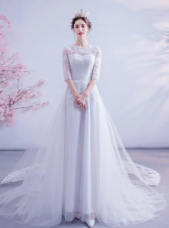 In Stock:Ship in 48 Hours White Tulle Short Sleeve Wedding Dress