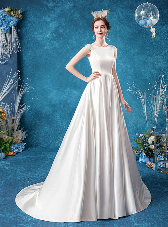 In Stock:Ship in 48 Hours White Satin Wedding Dress