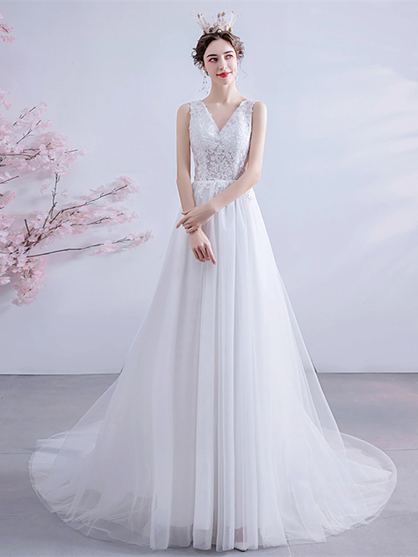 In Stock:Ship in 48 hours Tulle V-neck Backless Wedding Dress