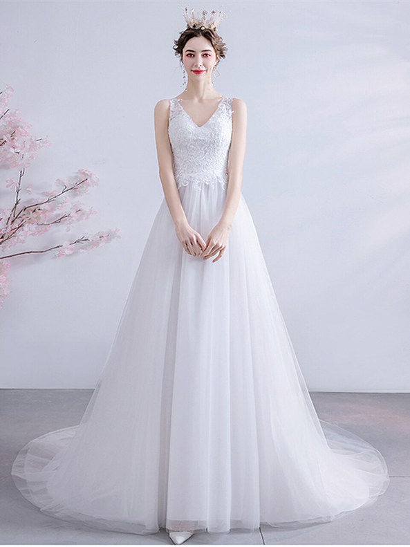 In Stock:Ship in 48 hours V-neck Tulle Wedding Dress