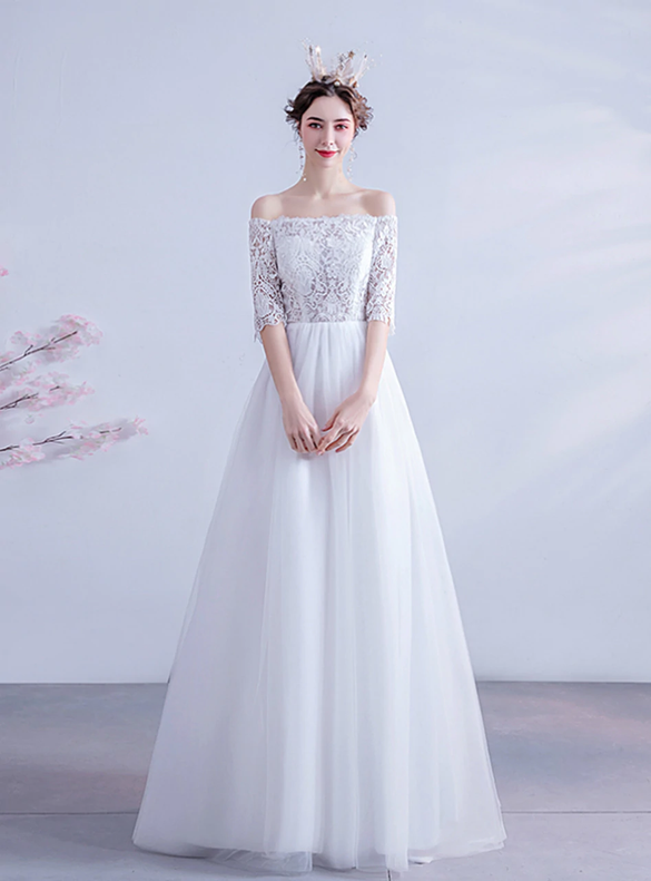 In Stock:Ship in 48 Hours White Lace Short Sleeve Wedding Dress