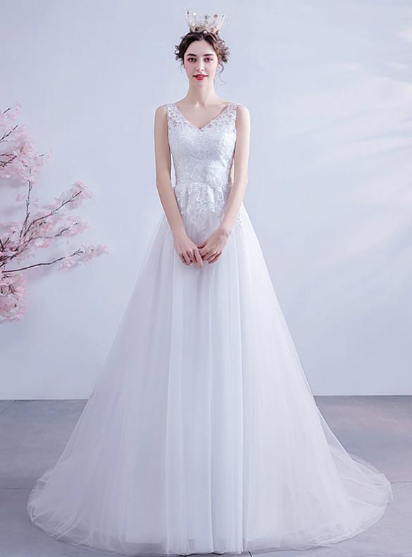 In Stock:Ship in 48 Hours Lovely White Tulle V-neck Wedding Dress