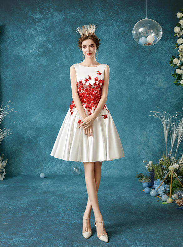 In Stock:Ship in 48 Hours White Satin Red Appliques Short Wedding Dress