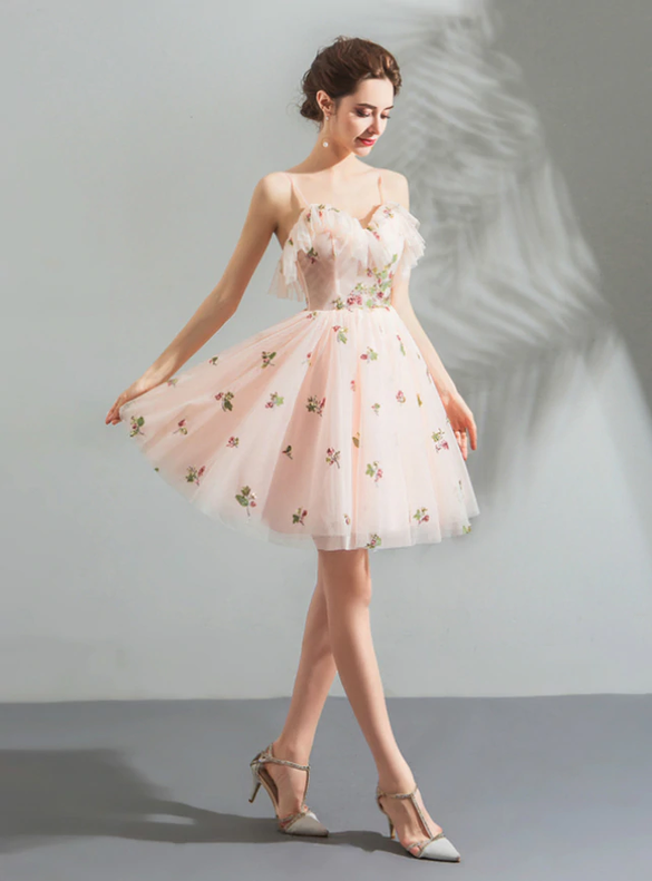 In Stock:Ship in 48 Hours Appliques Pink Short Homecoming Dress