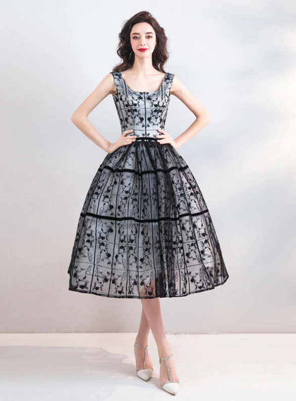 In Stock:Ship in 48 Hours Black Lace Homecoming Dress