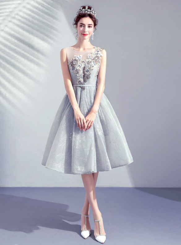 In Stock:Ship in 48 Hours Tulle Appliques Illusion Homecoming Dress