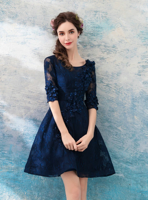 In Stock:Ship in 48 hours Navy Blue Appliques Homecoming Dress