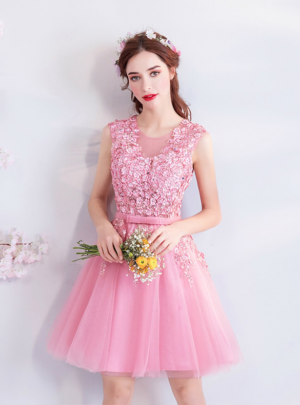 In Stock:Ship in 48 hours Scoop Tulle Pink Homecoming Dress