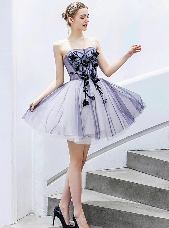 In Stock:Ship in 48 Hours Blue Strapless Homecoming Dress
