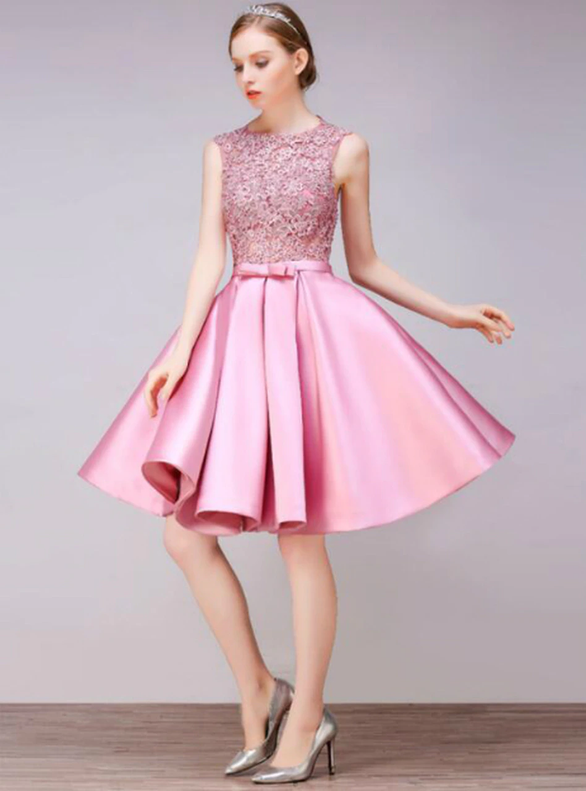 In Stock:Ship in 48 hours Pink Lace Satin Homecoming Dress