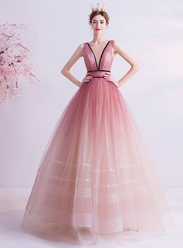 In Stock:Ship in 48 Hours Pink V-neck Prom Dress