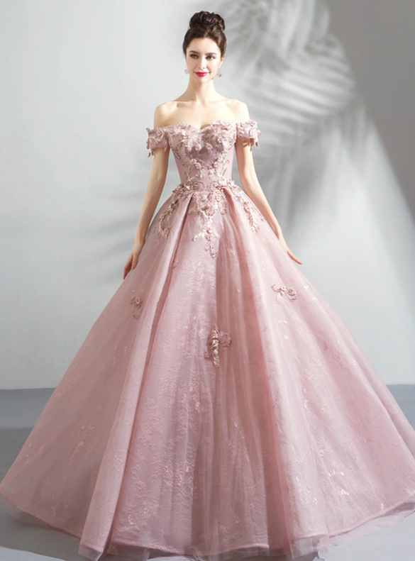 In Stock:Ship in 48 Hours Pink Lace Tulle Quinceanera Dress