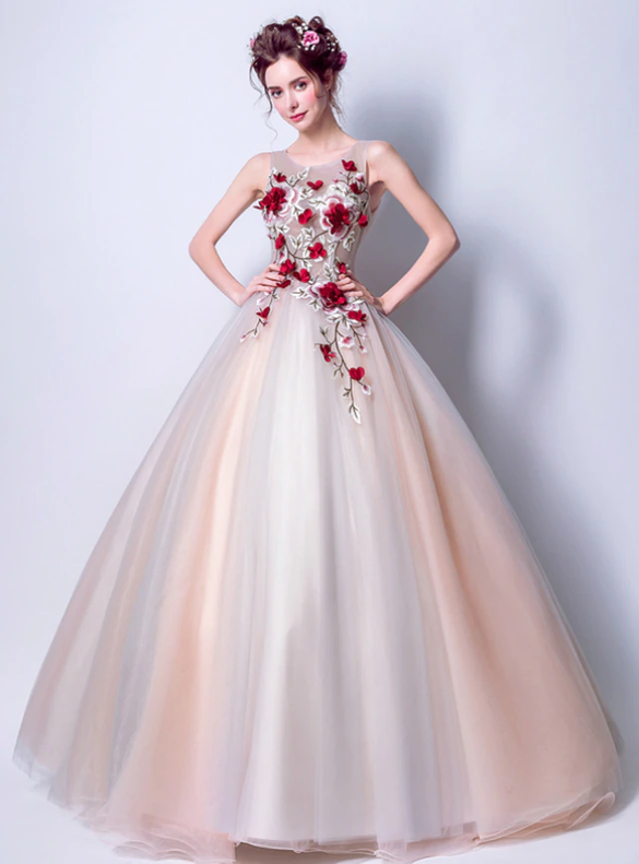 In Stock:Ship in 48 Hours Pink Ball Gown Appliques Quinceanera Dress