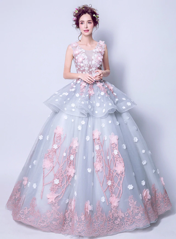 In Stock:Ship in 48 hours Tulle Appliques Ball Gown Quinceanera Dress