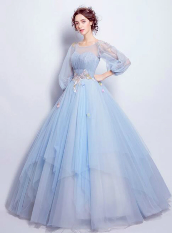 In Stock:Ship in 48 hours Blue Pleats Long Sleeve Quinceanera Dress